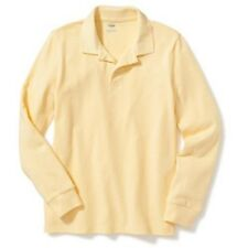 New-Size XS(5)-Old Navy-Boys Long-Sleeve Uniform Pique Polo-Yellow T-Shirt-Cotto