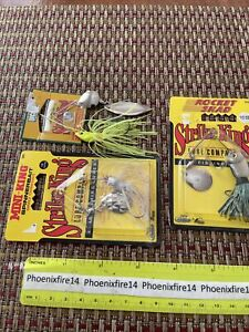 3 New Lures Strike King Mini-King Spinnerbait Silver And Chartreuse Rocket Shad