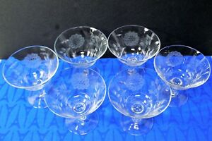 "LOT of 6 Hughes CORNFLOWER Low Sherbet or Champagne Glasses, Optic, 4"" Mint!"