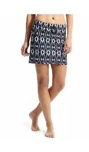 Athleta Reflection Stretch-In Skort Ikat Pattern Navy White Golf Tennis Skirt S