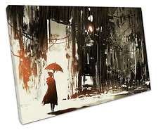 RED UMBRELLA CANVAS WALL ART PICTURE LARGE 75 X 50 CM