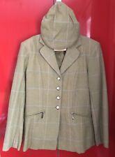 Ladies Size 10-12 Rydale Green Wool Hacking Tweed Show Jacket Flat Cap Lead Rein