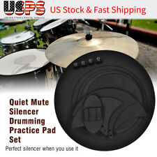 10Pcs Bass Snare Drum Sound off Mute Silencer Drumming Practice Pad Set Black