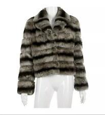 REX RABBIT grigio pelliccia CINCILLA 'stile Fur Giacca Taglia 38