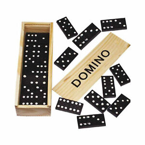 Wooden Dominoes Set 28 Domino Classic Black Box Traditional Kids Toys Board Game