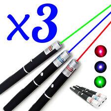 New listing 3Pcs Green + Blue Violet + Red Light Visible Beam Light 1Mw Laser Pointer Pen