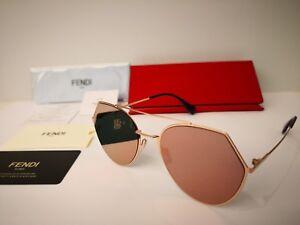 New FENDI Eyeline FF 0194 DDB AP Aviator Sunglasses Gold Copper / Silver Mirror