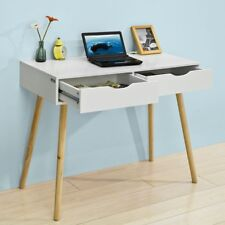 SoBuy Wood Home Table Desk Computer Workstation with Drawers,White,FWT40-WN,UK