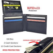 Men's Genuine Leather RFID Security Black Bifold Wallet With Inside Zipper
