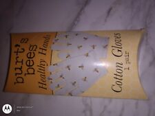 BURT'S BEES HEALTHY HANDS COTTON GLOVES DECORATED BEE PRINT PATTERN New In Box