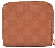 New Gucci Women's 346056 TAN Leather GG Guccissima French Zip Wallet W/Coin