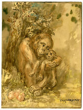 Rare Antique Drawing-MONKEY WITH BABY-APE-Ravenswaay-20th c.