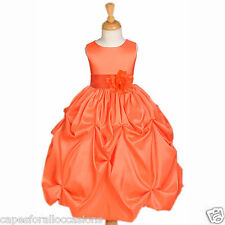ORANGE FLOWER GIRL DRESS TAFFETTA WEDDING BRIDESMAID PAGEANT 6-18M 2 4 5T 6 8 10