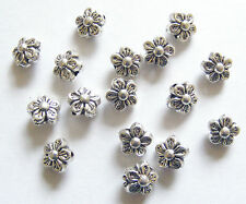 30 Metal Antique Silver Flower Shape Spacer Beads - 8mm