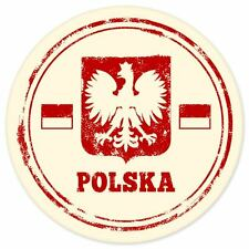 "Polska Poland travel car bumper window suitcase sticker 4"" x 4"""