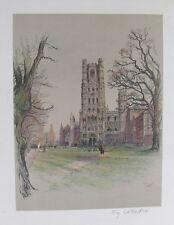 Vecchia stampa CECIL ALDIN ELY CATTEDRALE Cambridgeshire 1924 original vintage colore
