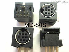( 6 PC. ) CUI P/N MD-80S 8 POSITION MINIDIN PCB SOCKET, RIGHT ANGLE