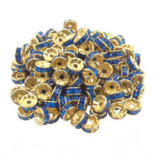 20 Perles Rondelle strass Doré 8mm Couleur Bleu Creation Bijoux Collier