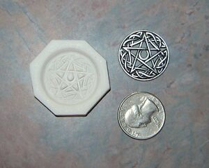 2 Celtic Moon Pentagram Star & Triquetra Trinity Knot Polymer Clay Hard Mold