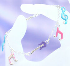 925 Sterling silver childrens musical note charm bracelet