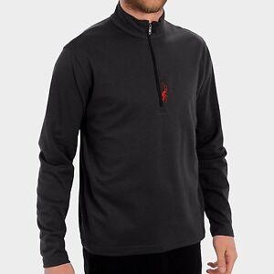 Men's Spyder Tracker 1/2 Zip T-Neck Fleece Ski Snowboard Baselayer Black Size S