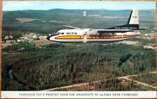 1962 Aviation Postcard: Wein Alaska Airlines Postmarked Fort Yukon, AK-Fairchild