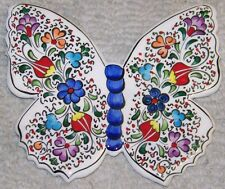 """6""""x5"""" Iznik Tulip & Floral Pattern Handpainted Ceramic Butterfly Wall Hanging"""