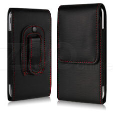Black Slim PU Leather Belt Clip Pouch Cover Carry Case Holder For LG Phones