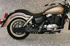 "MAC 2into2 Black 2 1/4"" Fat Stakkers Exhaust - Honda VT1100C3 Shadow Aero 98-02"