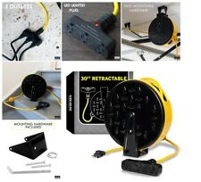 30 FT Professional Power Garage Outlet Retractable Extension Cord Reel Brand New