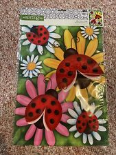 Nip Spring Summer Colorful Ladybug & Daisy Flower Small Mini Garden Flag 12�x18�
