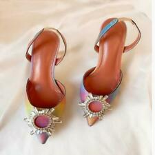 Women's Crystal Embellished Leather Heels Pumps Slingback Strap Shoes Party Sexy