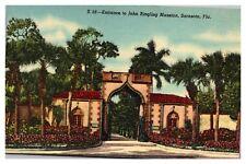 Vintage Postcard Entrance to John Ringling Mansion S. 56