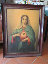 ANTICA GRANDE OLEOGRAFIA  SACRO CUORE DI MARIA MADONNA  85X65