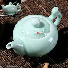 longquan celadon tea set tea pot fish design pot set green porcelain pot for tea