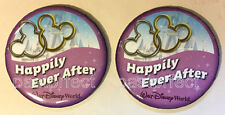 Disney WDW 2 Button Happily Ever After Wedding Engagement Married Mickey Rings