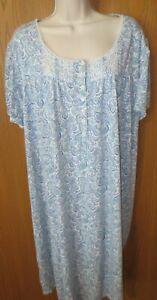 SECRET TREASURES BLUE poly cotton blend knit s/s lounge dress nightgown  sz 4X