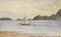 P.W.N.G - Late 19th Century Watercolour, Coastal Beach Study with a Boat