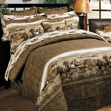 Blue Ridge Trading Wild Horses QUEEN Comforter Set Country / Western Theme 8pcs