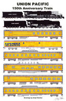 "Union Pacific 150th Anniversary Train 11""x17"" Poster by Andy Fletcher signed"
