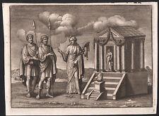 1742 Rare gravure Virgile Énée temple Vénus l'Énéide mythologie