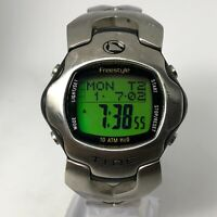 Rare Freestyle Mens Shark Tide 703 All Stainless Steel Silver Digital Wristwatch
