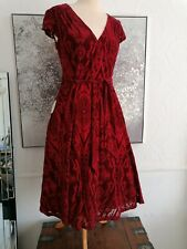 Lindy Bop DAWN Velvet Red BURGUNDY Swing Dress UK 12 RRP £42 bnwt