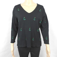 Etoile Christmas Tree Embroidered Holiday Ugly Black Sweater Womens Size Large L