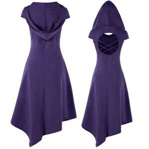 Cosplay Medieval Dress Gothic Women Vintage Costume Hooded Casual Party Dresses