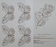 Butterfly & flower 4 x A4 iron on transfer patterns for embroidery by WEBSTER'S