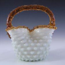 Stourbridge Victorian Ivory Glass Thorn Basket c 1890