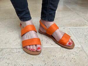 Womens Slingback Sandals Strappy Flat Sliders By CM Paris - 839 751 Orange
