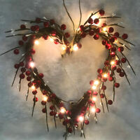 Ostern Deko Herzform Kranz mit LED Lichterkette Hochzeit Türkranz Wandkranz Deko