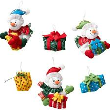 Bucilla Felt Applique Kit -Snowmen W/Presents Ornaments